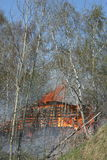 Fire. A fire in a wooden house in the woods Stock Image