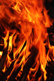 Fire. Hot and colorful flames in a wood fire Royalty Free Stock Photos