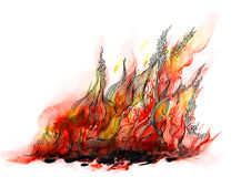 Fire. Red curly fire flame (series C Stock Photos