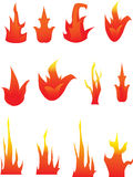 Fire. Various fire shapes of red orange and yellow Stock Photography