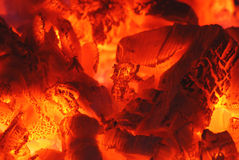 Fire 24. Fire and ember in fireplace Royalty Free Stock Image