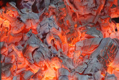 Fire 25. Fire and ember in fireplace Stock Image
