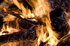 Fire. Close up of an campfire at night glowing flames Stock Image