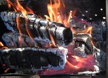 Fire. Smoulderring coal of firewood in campfires Stock Image