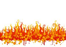 Fire. Vector illustration with yellow-orange flames on white background Royalty Free Stock Photography