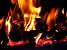 Fire. Close up of a log fire Stock Photos
