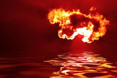 Fire. Fiery cloud hovering above water Stock Photos