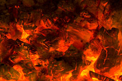 Fire. Photo of burning hood in a fireplace Stock Photography