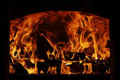 Fire. In the stove Royalty Free Stock Photos