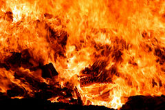 Fire. A very big open fire with old wood Royalty Free Stock Image