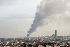 Fire. Smoke coming up during a fire in Paris Stock Photography
