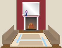 By the Fire. Modern contemporay room with a relaxing fireplace royalty free illustration