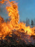 Fire. Scrap on fire outside at Walpurgis Stock Images