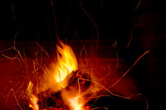 Fire. Warm fire on black background Royalty Free Stock Images