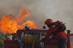 Fire. Workers - Big fire in Portugal - Europe Stock Images