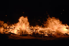 Fire. Bonfire at night with hot flames royalty free stock images