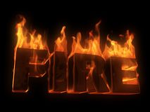 Fire. 3d rendered illustration of letters in fire Stock Photos
