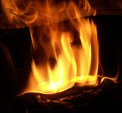 Flames. Close up of a fire burning Royalty Free Stock Image