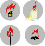 Fire. Pictures with the information, fire safety, cautious work with fire, intuitive concept Stock Photos