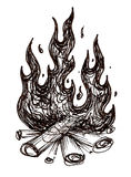 Fire. A black and white ink drawing of a campfire Royalty Free Stock Photos