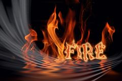 Fire. Word raising in a  background Royalty Free Stock Photography
