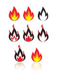Fire. Different versions of a fire, illustration Stock Photo
