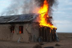 Fire in an abandoned house Stock Photos