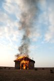 Fire in an abandoned house Stock Photo