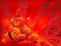 Fire abstracttion. Abstract background with tribal art flames Stock Photo