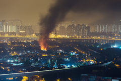 Fire accident in city Royalty Free Stock Photos