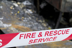 Fire accident scene Stock Photography
