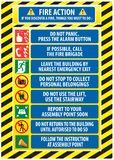 Fire Action Emergency Procedure. / Evacuation Procedure (do not panic, press alarm button, call fire brigade, emergency exit, report to assembly point, follow Royalty Free Stock Image