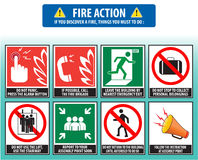 Fire action emergency procedure (evacuation procedure). If you discover a fire, things you must to do Stock Photo