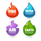 Fire, Air, Earth And Water. Vector Collection Of Nature Elements Royalty Free Stock Image