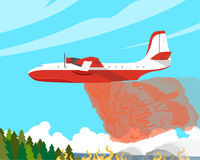The fire aircraft. A fire plane extinguishes a forest fire high in the mountains. Vector illustration Royalty Free Stock Images