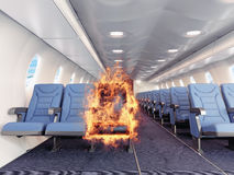 Fire in the airplane. Cabin. 3d creative concept Stock Images