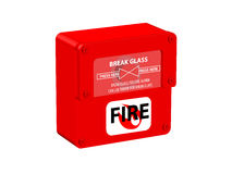 Fire alarm. Batton under protected glass with supported text, with screw Royalty Free Stock Photo