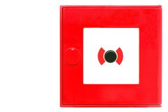 Fire alarm. Red fire alarm box isolated on white stock image