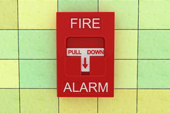 Fire alarm. 3d fire alarm on tile wall Stock Images