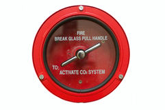 Fire Alarm. Round fire alarm switch. White isolated Royalty Free Stock Photos