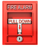 Fire alarm. Red alarm on white background, 3d illustration Stock Photos