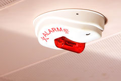 Fire Alarm. On the Ceiling of Building Stock Image
