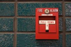 Fire alarm. On green wall Stock Photo