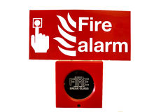 Fire alarm. And warning sign isolated on white Stock Image