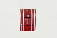 Fire Alarm Botton. Mounted on the wall Royalty Free Stock Image