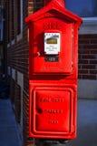 Fire alarm box in Boston, Massachusetts, USA. Red tall standing fire alarm box in Boston, Massachusetts, USA Stock Photos