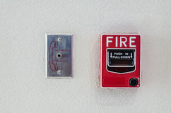 Fire alarm box with Fire Fighter telephone connector port Royalty Free Stock Photos