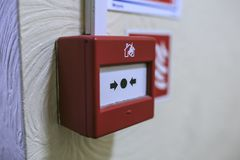 Fire alarm detector on the wall stock photo