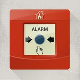 Fire alarm. Device with wall on background, icons and button Stock Photo