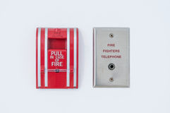 Fire alarm. With fire fighters telephone Stock Photos